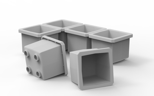 "6 Customizable 1x1 Bins (1.6"" x 1.6"")"