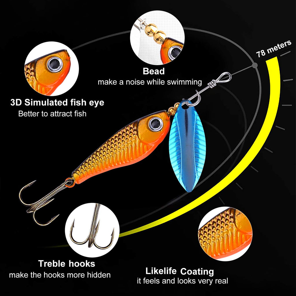 TOPFORT Fishing Lures, Fishing Spoon,Trout Lures, Bass Lures, Spinning Lures,Hard Metal Spinner Baits kit with Carry Bag - Nihon Fishing