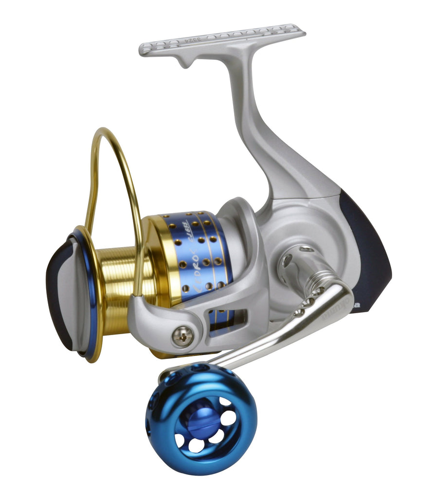 Okuma Cedros High Speed Spinning Reel, Silver, Blue & Gold, CJ-40S - Nihon Fishing