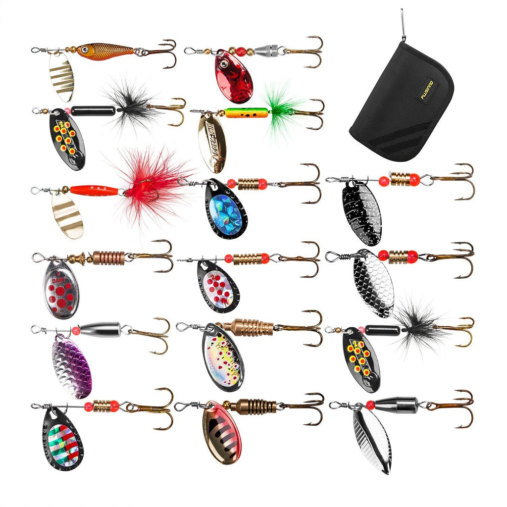 PLUSINNO 16pcs Fishing Lure Spinnerbait Kit with Portable Carry Bag,Bass Trout Salmon Hard Metal Spinner Baits Kit - Nihon Fishing