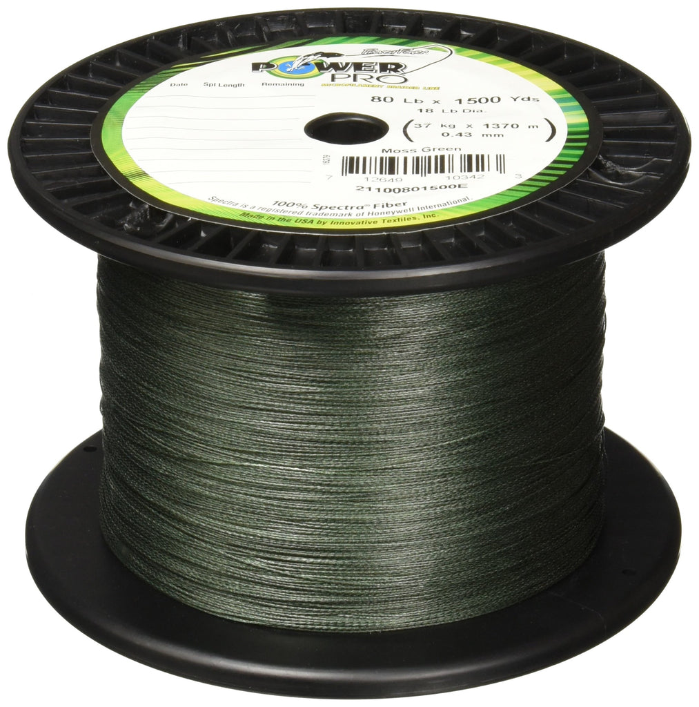 Power Pro Spectra Fiber Braided Fishing Line, Moss Green, 1500YD/80LB - Nihon Fishing