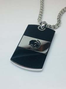 Mexican Flag Pendant and Stainless Steel Box Chain Set