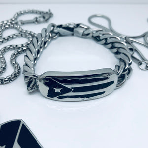Puerto Rican Island Stainless Steel Link Bracelet with Designer Clasp