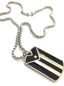 Puerto Rican Flag Penadant and Stainless Steel Box Chain Set