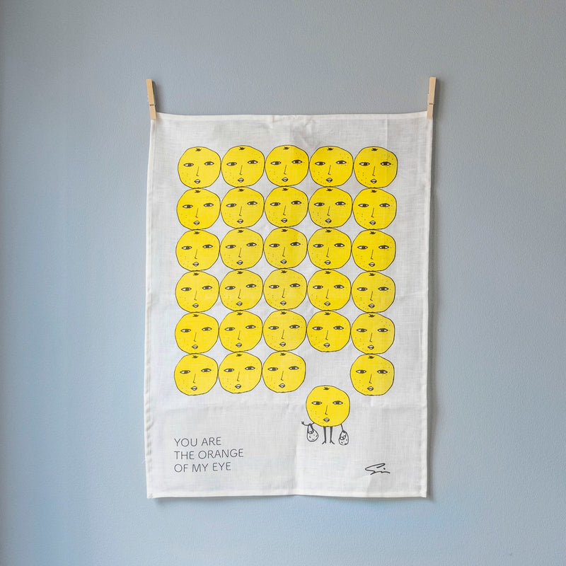 Linen tea towel | YOU ARE THE ORANGE OF MY EYE