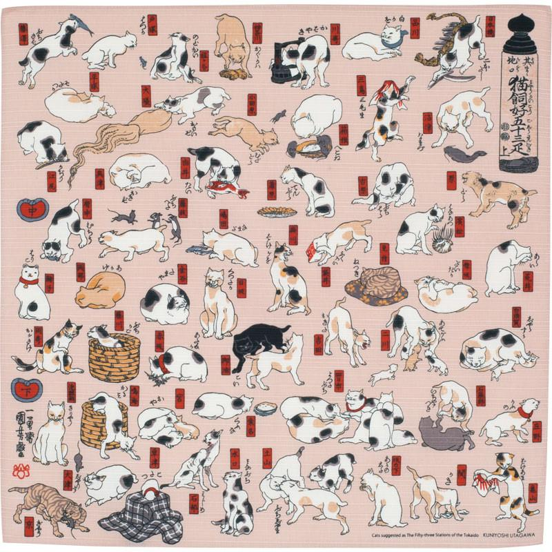 Ukiyo-e | Cats Suggested As The Fifty Three Stations Of The Tokaido Pink