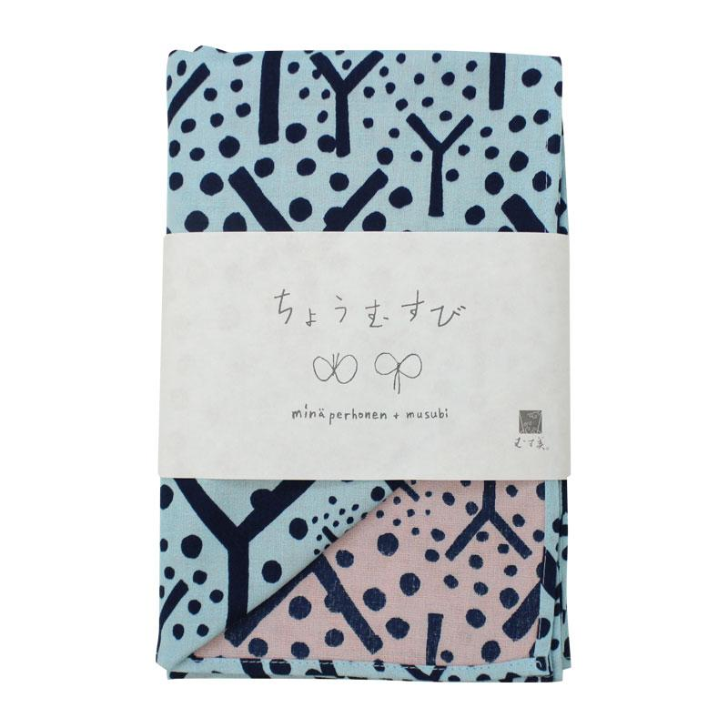 Mina perhonen Cotton Gauze Reversible | Furoshiki | frutta Light Blue/Light Pink