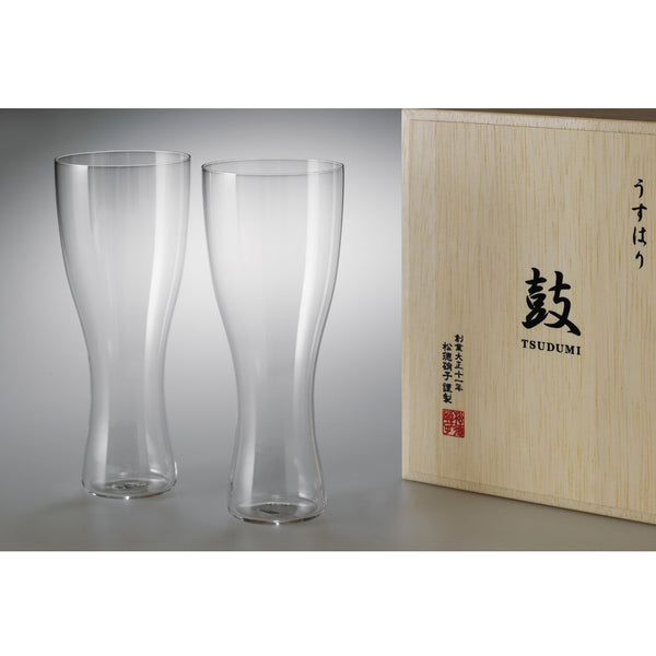 "Usuhari ""TSUDUMI"" Beer Glass - Set of 2 with wooden box 