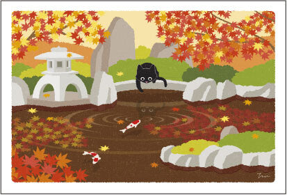 Post card with cats in Japan | autumn