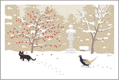 Post card with cats in Japan | winter