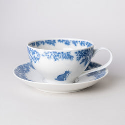 Copperplate painting cup & saucer (bird and cat, blue)