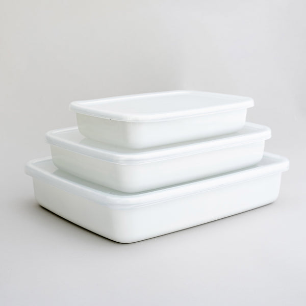 Noda Horo White Series Enamel Rectangle with Lid