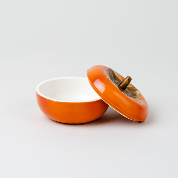 Japanese confectionery porcelain box  | Persimmon