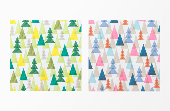 Origami | watercolor forest pattern