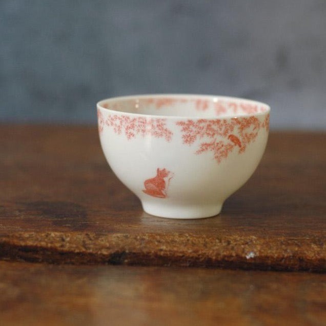 Copperplate painting tea cup (bird and cat, blue and red)