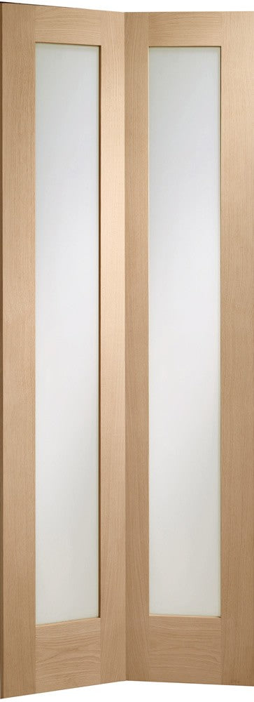 Pattern 10 Bi-Fold Internal Oak Door with Clear Glass