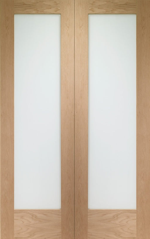 Pattern 10 Internal Oak Rebated Door Pair with Clear Glass