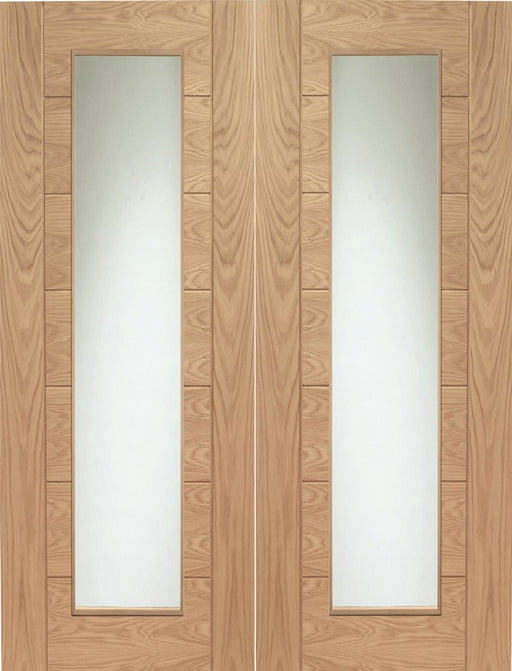 Oak Palermo Internal French Doors with Clear Glass