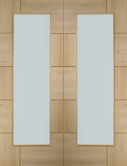 Oak Ravenna Internal French Doors with Clear Glass