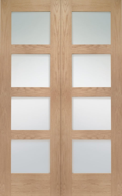 Shaker Internal Oak Rebated Door Pair with Clear Glass