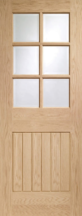 Suffolk Original 6 Light Internal Oak Door with Clear Bevelled Glass