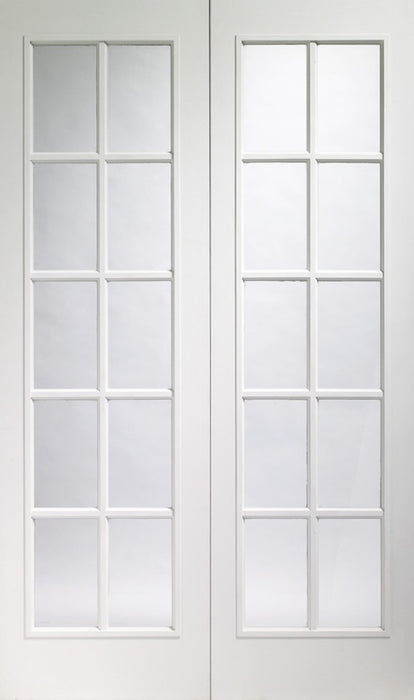 Portobello Pair Internal Pre-Finished White Moulded Door with Clear Glass