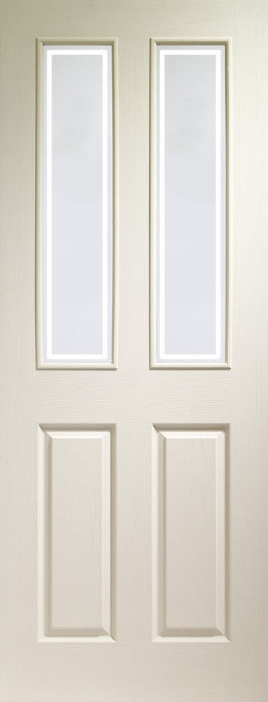 Victorian 4 Panel Internal White Moulded Door with Forbes Glass