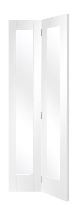 Pattern 10 Bi-Fold Internal White Primed Door with Clear Glass