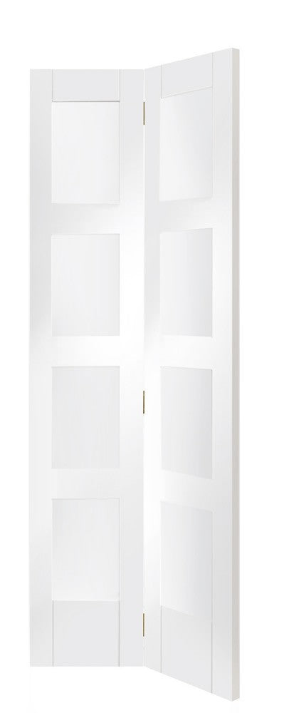 Shaker Bi-Fold Internal White Primed Door with Clear Glass