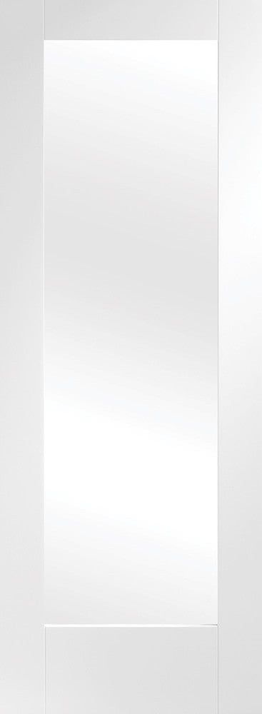 Pattern 10 Internal White Primed Fire Door with Clear Glass