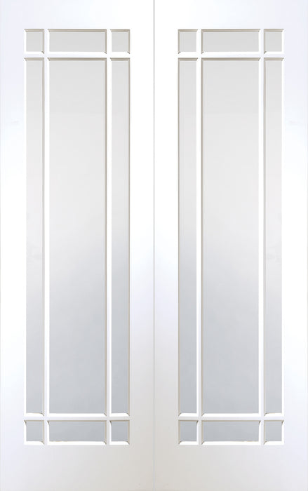 White Primed Cheshire Internal French Doors with Clear Glass