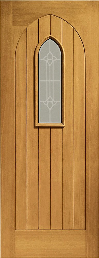 Westminster Double Glazed External Oak with Decorative Glass
