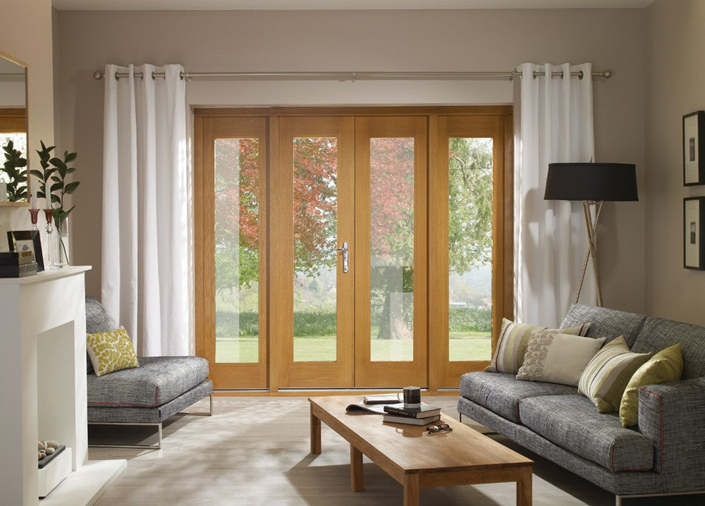 La Porte French Door Set in Pre-Finished External Oak Includes Sidelight Frame (Brass Hardware)
