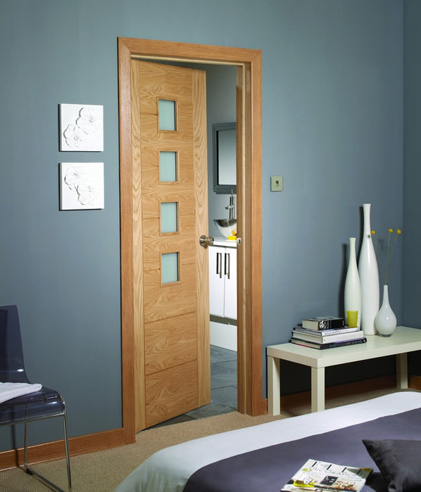 Palermo Pre-Finished Internal Oak Door with Obscure Glass