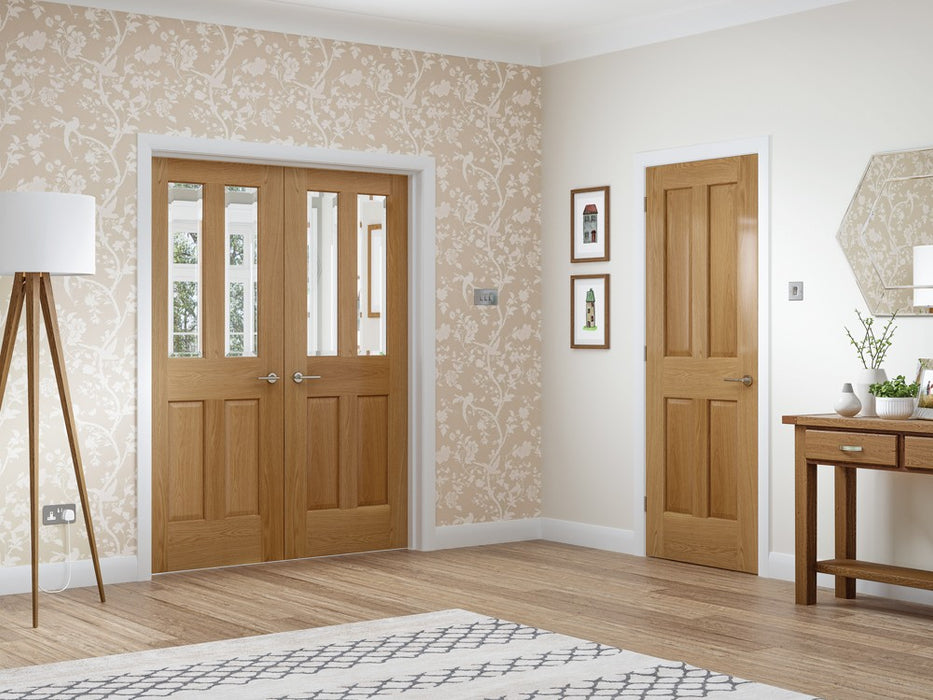 Malton Pre-Finished Internal Oak Door with Clear Bevelled Glass