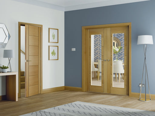 Palermo Internal Oak Rebated Door Pair with Clear Glass