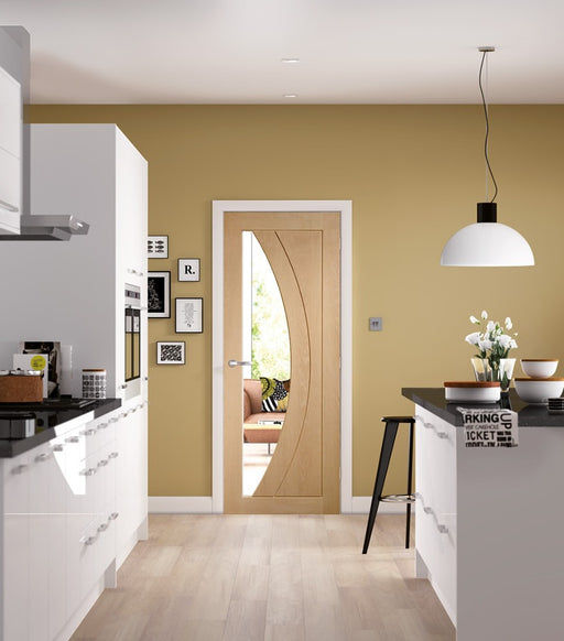 Salerno Pre-Finished Internal Oak Door with Clear Glass