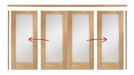 Oak Easi Slide Room Divider Door System (Includes 4 x Unfinished Pattern 10 Doors with Clear Glass)