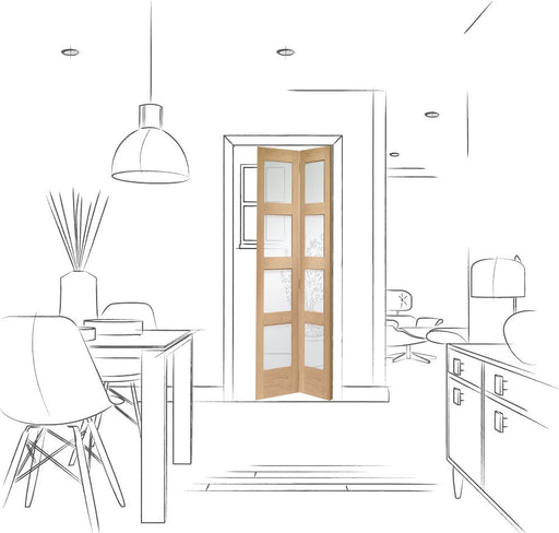 Shaker Bi-Fold Internal Oak Door with Clear Glass