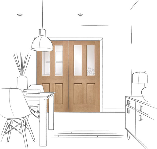 Oak Malton Internal French Doors with Clear Bevelled Glass