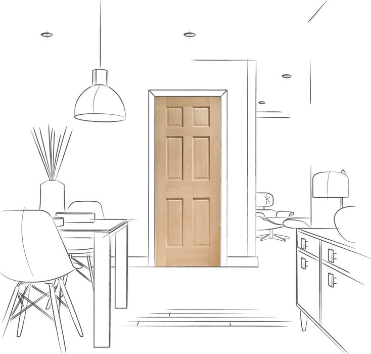 Colonial 6 Panel Internal Oak Fire Door
