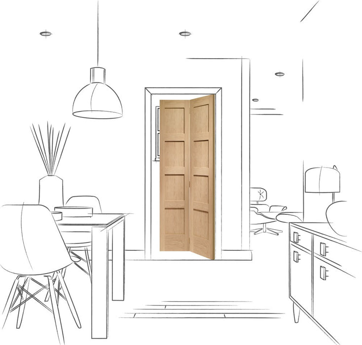 Shaker 4 Panel Bi-Fold Internal Oak Door
