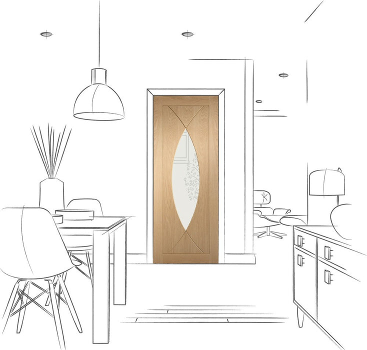 Pesaro Internal Oak Fire Door with Clear Glass