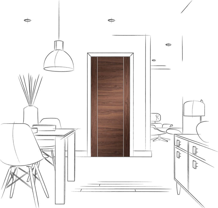 Forli Pre-Finished Internal Walnut Door