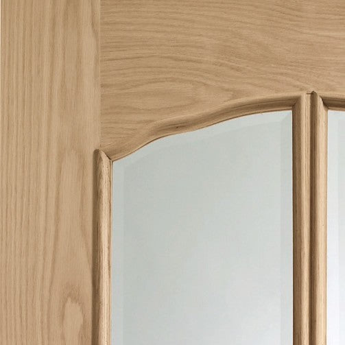 Riviera Pre-Finished Internal Oak Door With Raised Mouldings and Clear Bevelled Glass