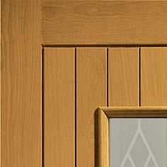 Chancery Double Glazed External Oak with Decorative Glass