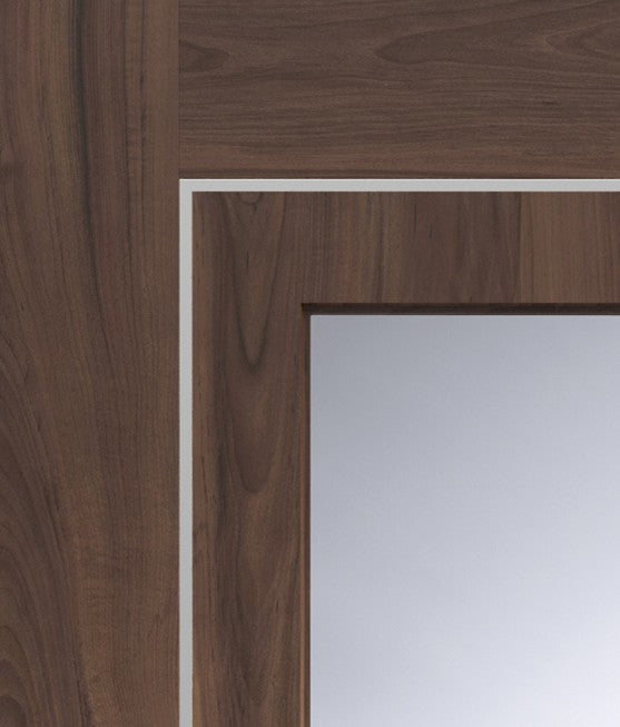 Varese Pre-Finished Internal Walnut Door with Clear Glass