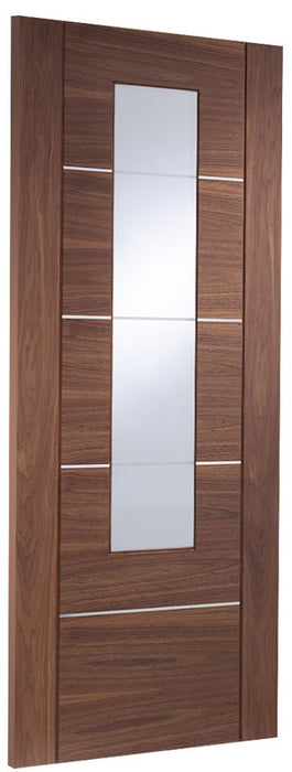 Portici Pre-finished Internal Walnut Door with Clear Etched Glass