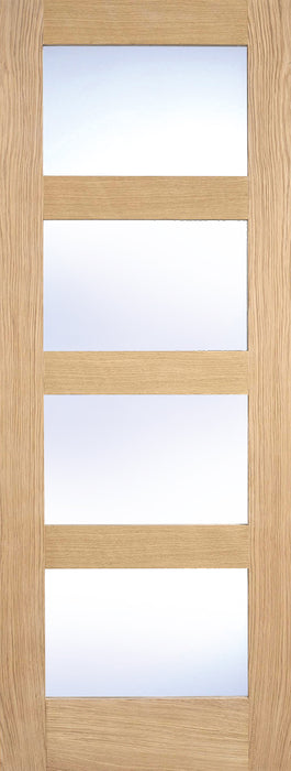 Oak Contemporary Glazed 4L Clear Internal Door