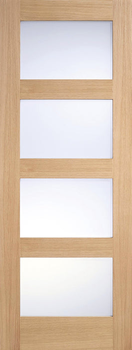 Oak Contemporary Glazed 4L Frosted Pre-Finished Internal Door